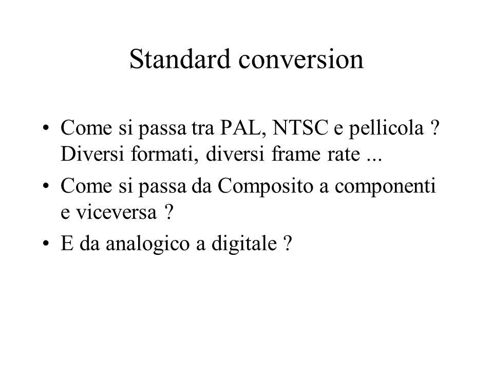 Standard conversion Come si passa tra PAL, NTSC e pellicola Diversi formati, diversi frame rate ...