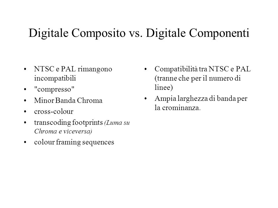 Digitale Composito vs. Digitale Componenti