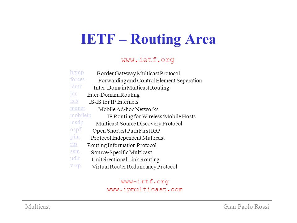 IETF – Routing Area   www-irtf.org