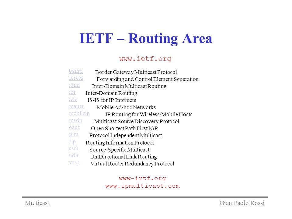IETF – Routing Area www.ietf.org www-irtf.org www.ipmulticast.com