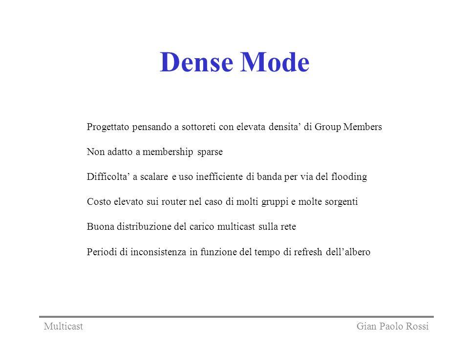 Dense Mode Progettato pensando a sottoreti con elevata densita' di Group Members. Non adatto a membership sparse.