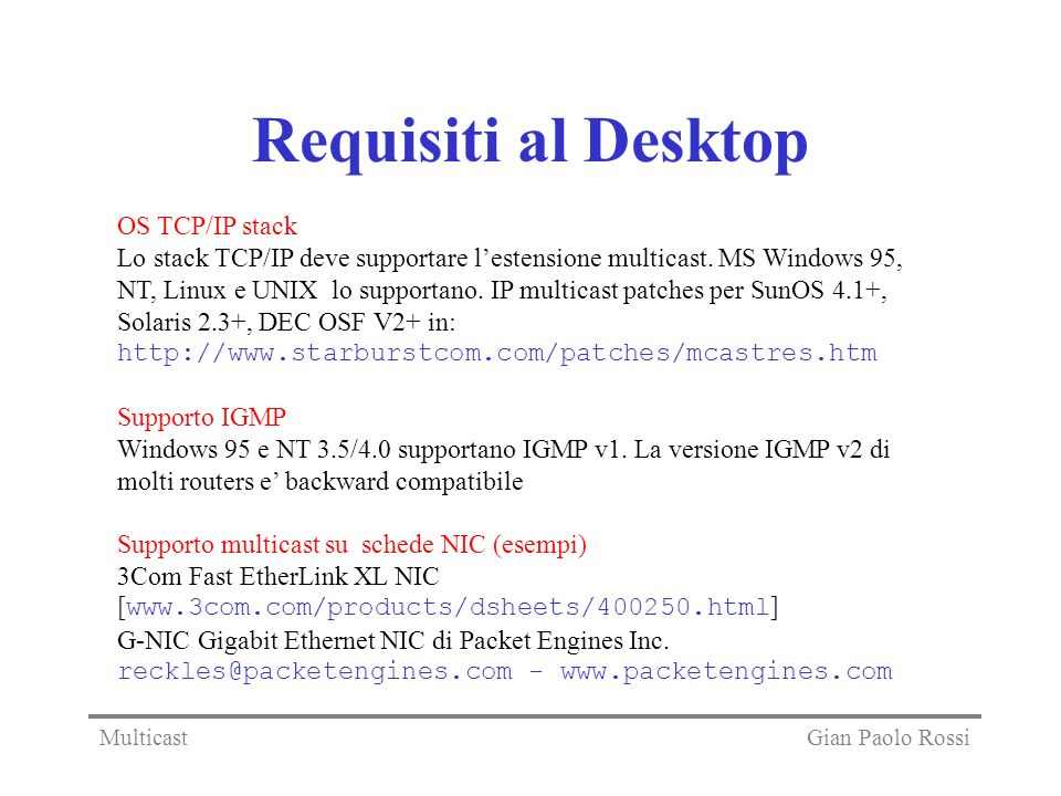 Requisiti al Desktop OS TCP/IP stack