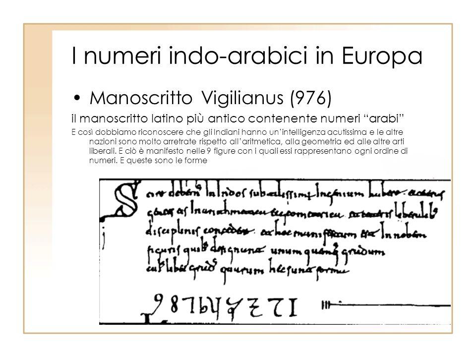 I numeri indo-arabici in Europa