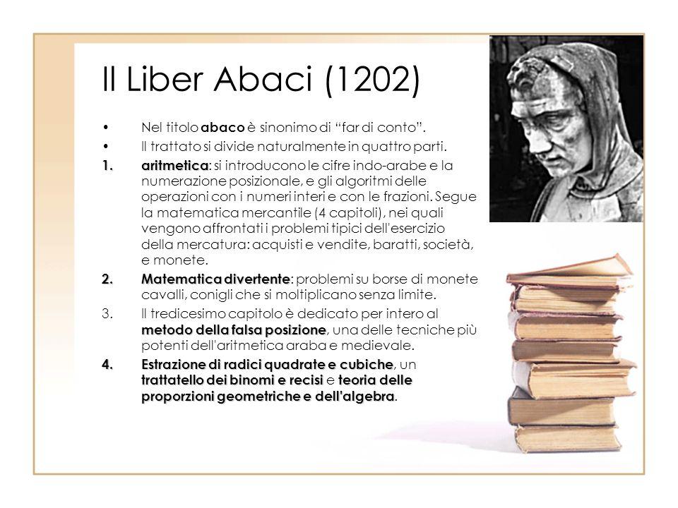 Il Liber Abaci (1202) Nel titolo abaco è sinonimo di far di conto .