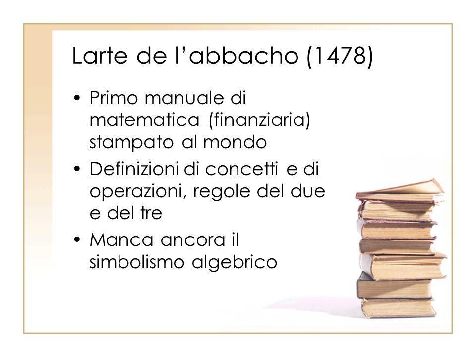Larte de l'abbacho (1478) Primo manuale di matematica (finanziaria) stampato al mondo.
