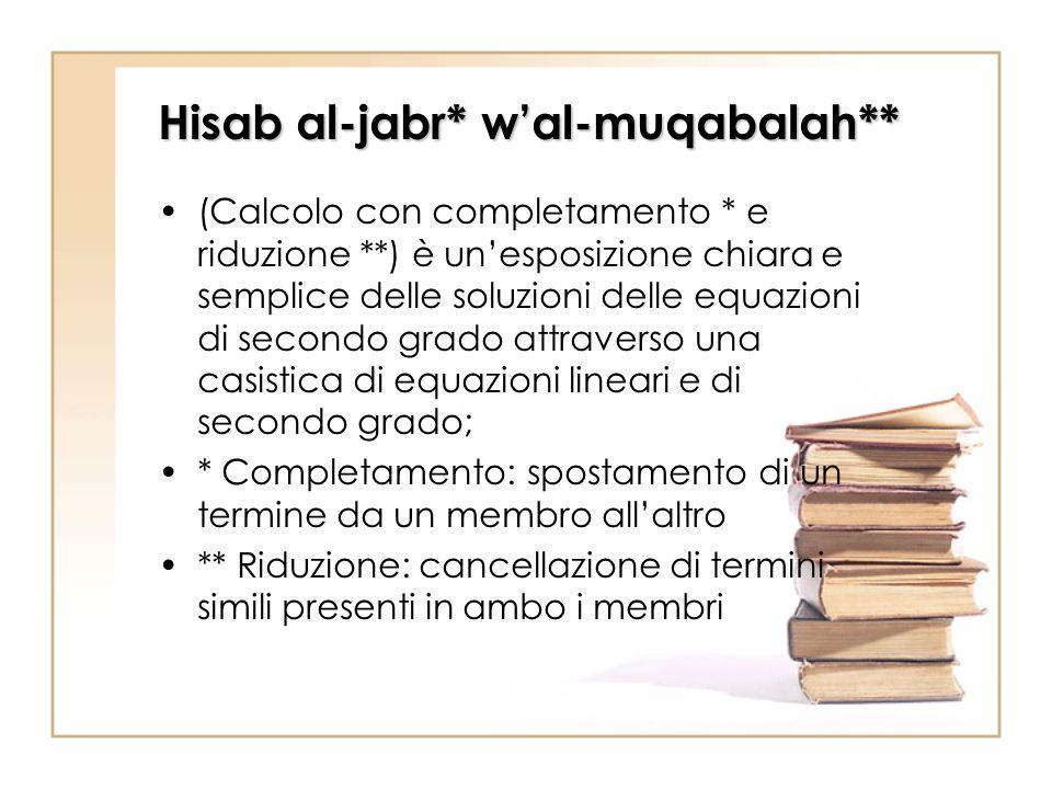 Hisab al-jabr* w'al-muqabalah**