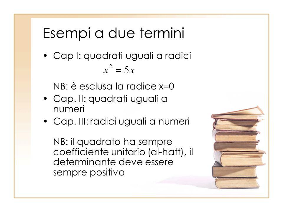 Esempi a due termini Cap I: quadrati uguali a radici NB: è esclusa la radice x=0. Cap. II: quadrati uguali a numeri.
