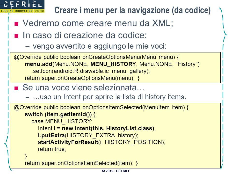Creare i menu per la navigazione (da codice)