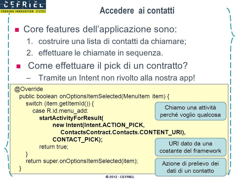 Core features dell'applicazione sono: