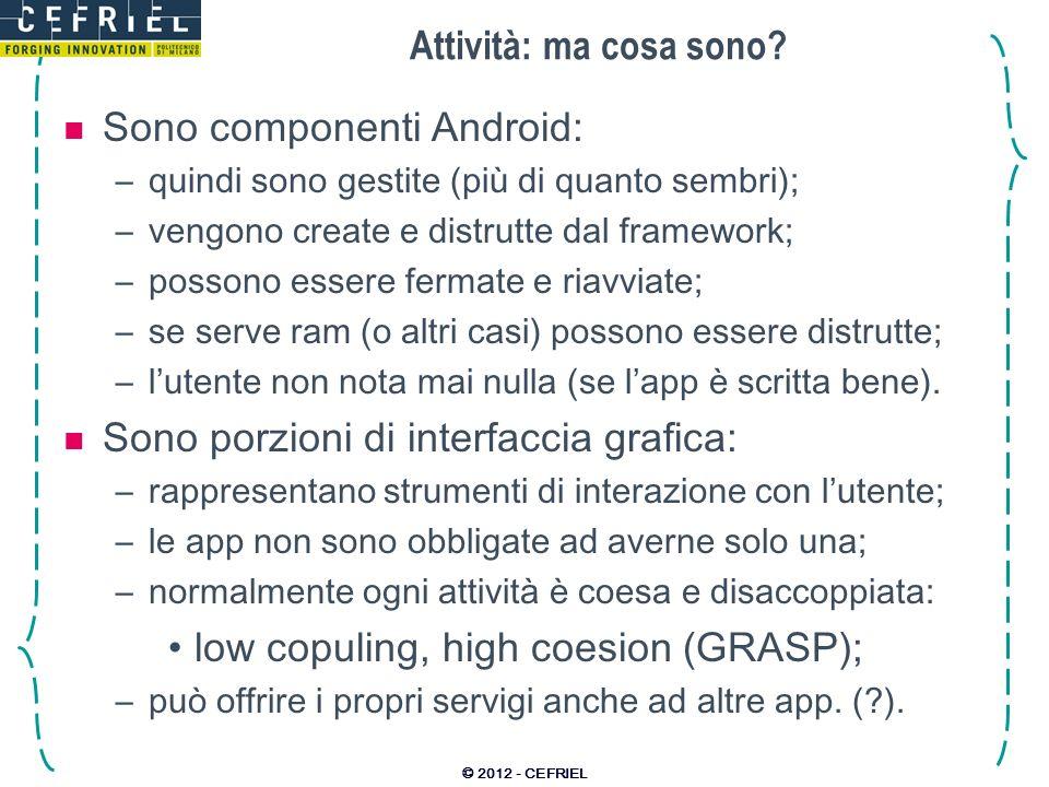 Sono componenti Android: