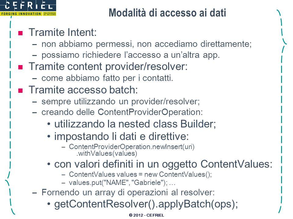 Modalità di accesso ai dati