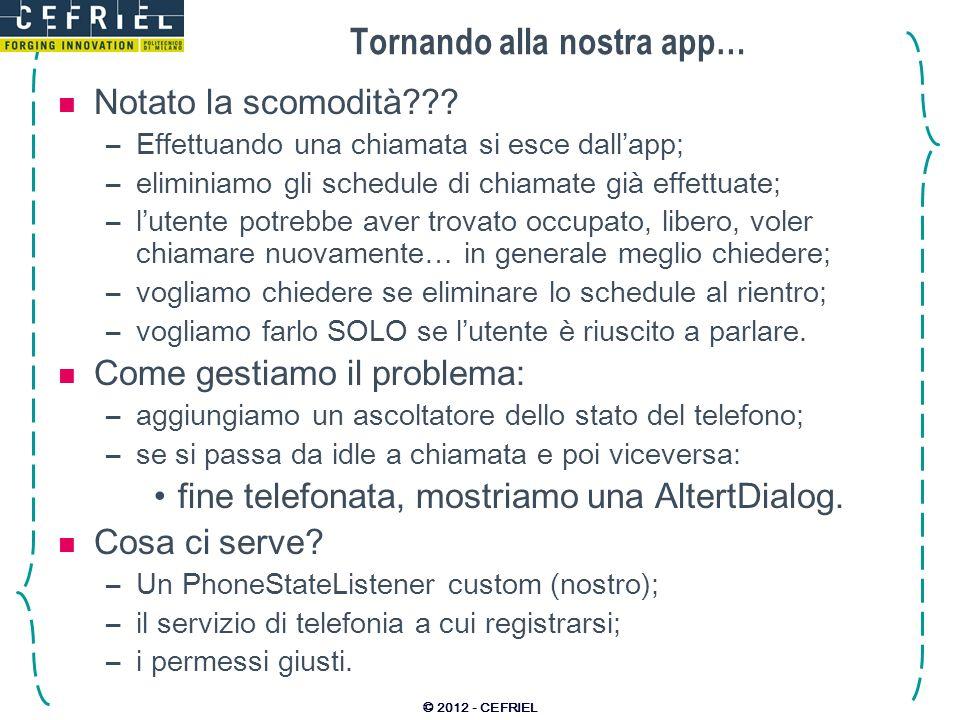 Tornando alla nostra app…