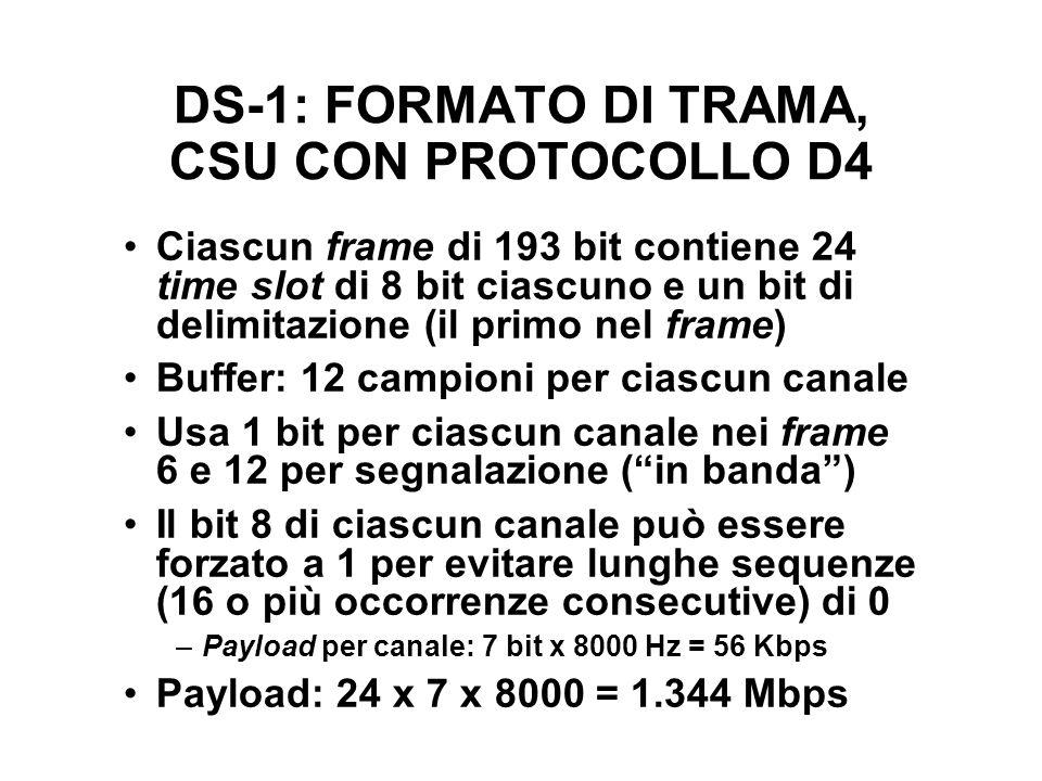 DS-1: FORMATO DI TRAMA, CSU CON PROTOCOLLO D4