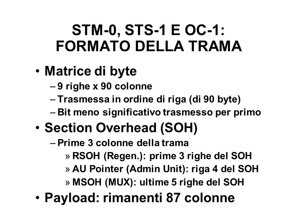 STM-0, STS-1 E OC-1: FORMATO DELLA TRAMA