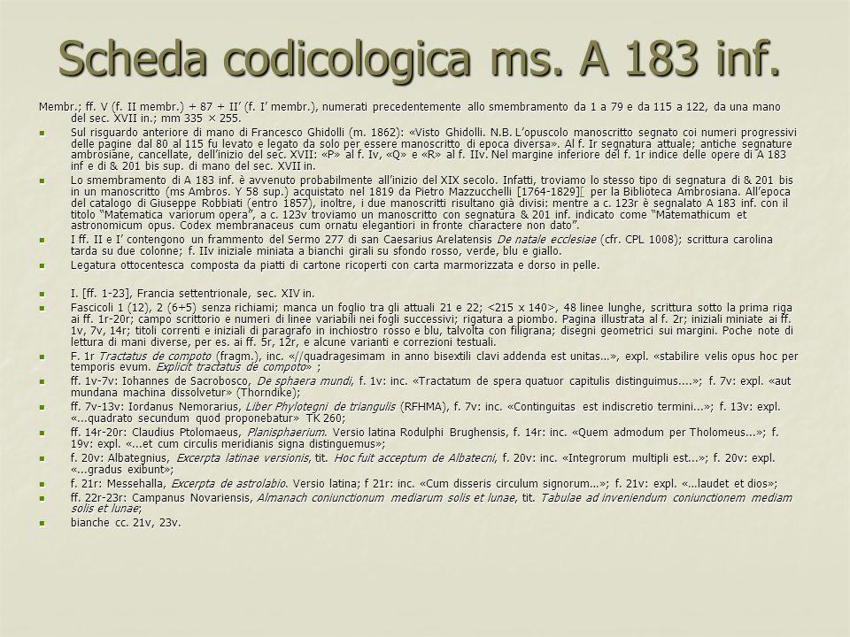 Scheda codicologica ms. A 183 inf.