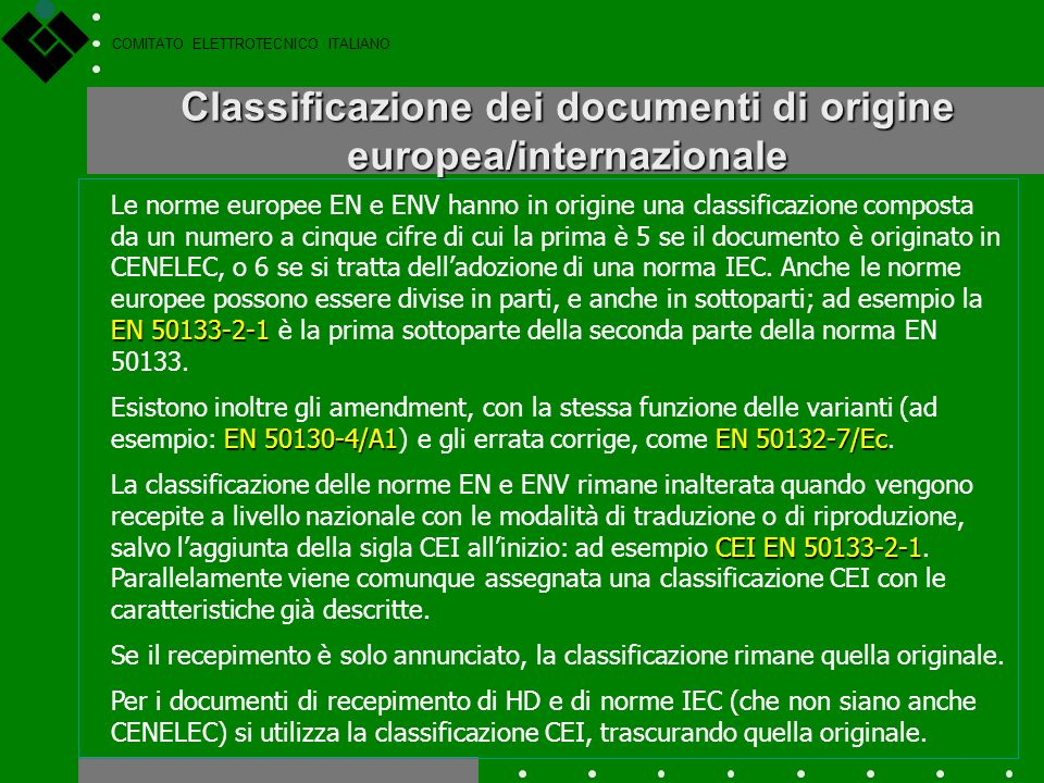 Classificazione dei documenti di origine europea/internazionale