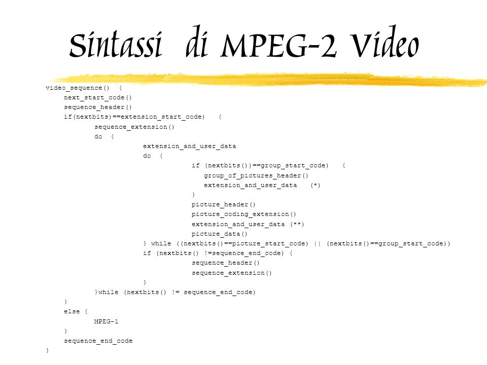 Sintassi di MPEG-2 Video