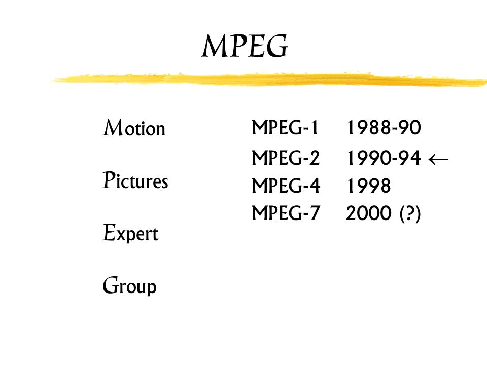 MPEG Motion Pictures Expert Group MPEG-1 1988-90 MPEG-2 1990-94 