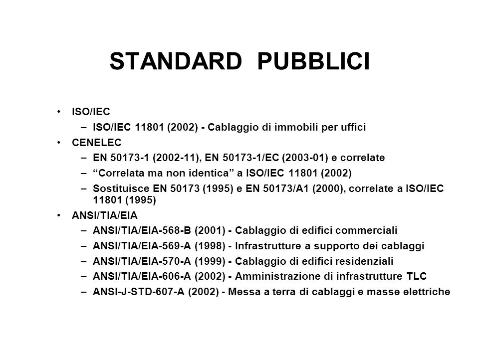 STANDARD PUBBLICI ISO/IEC