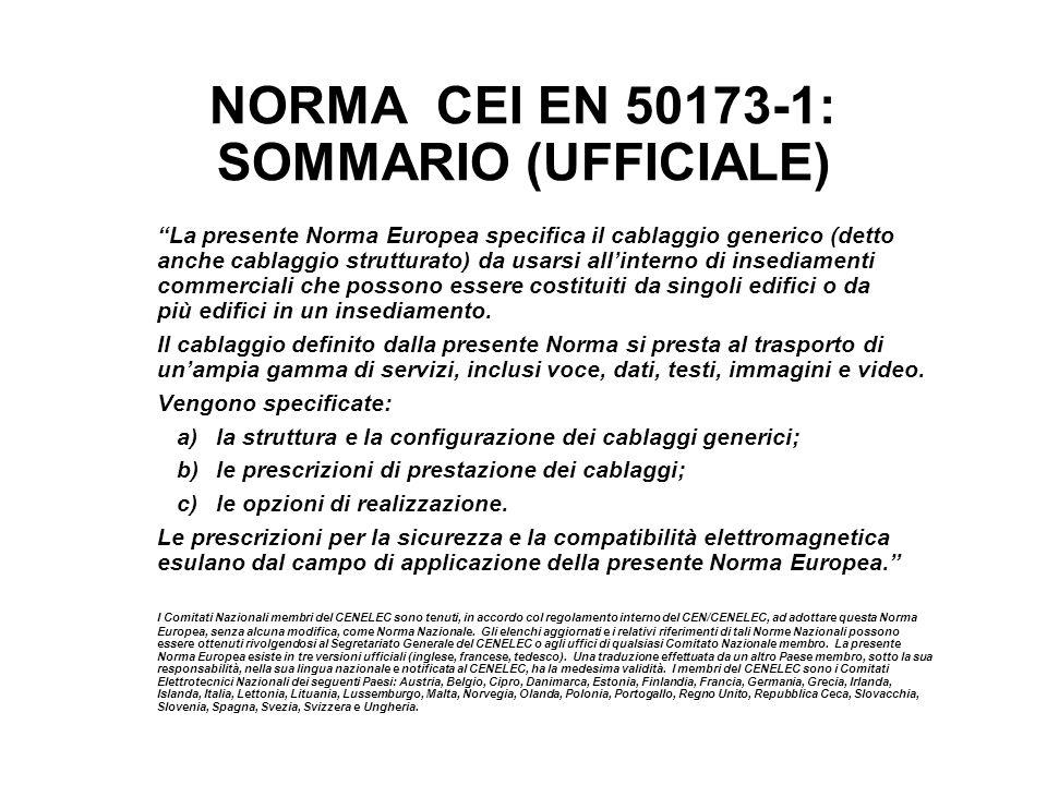 NORMA CEI EN 50173-1: SOMMARIO (UFFICIALE)