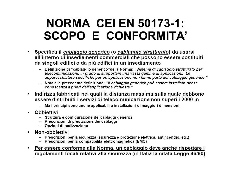 NORMA CEI EN 50173-1: SCOPO E CONFORMITA'
