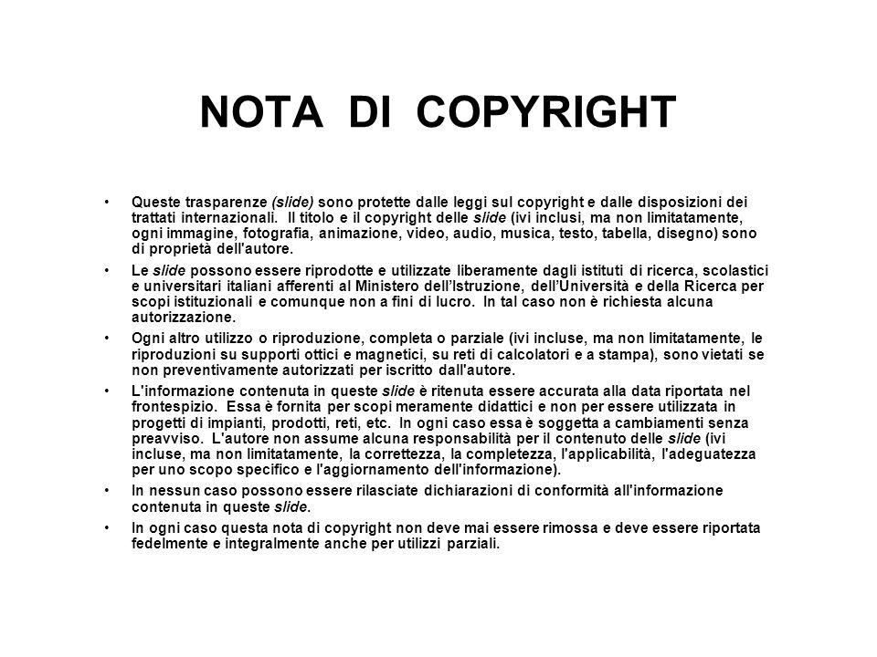 NOTA DI COPYRIGHT