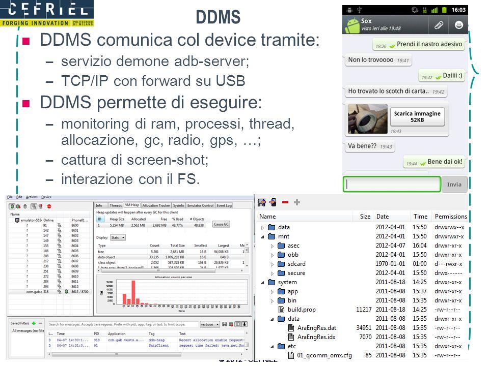 DDMS DDMS comunica col device tramite: DDMS permette di eseguire: