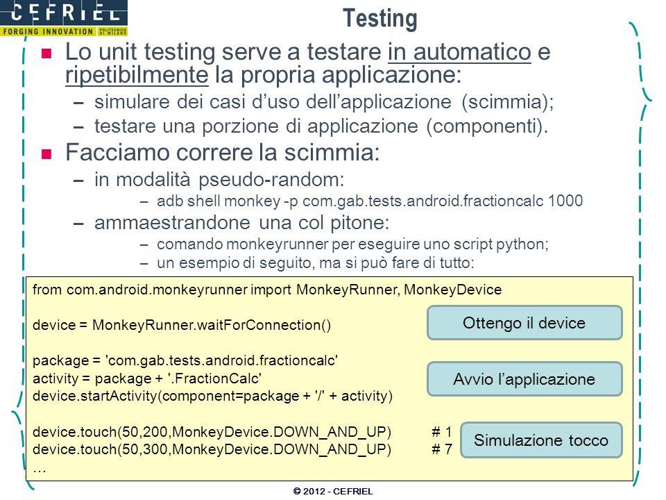 Testing Lo unit testing serve a testare in automatico e ripetibilmente la propria applicazione: simulare dei casi d'uso dell'applicazione (scimmia);