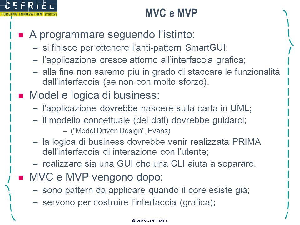 MVC e MVP A programmare seguendo l'istinto:
