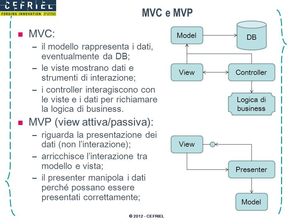 MVC e MVP MVC: MVP (view attiva/passiva):