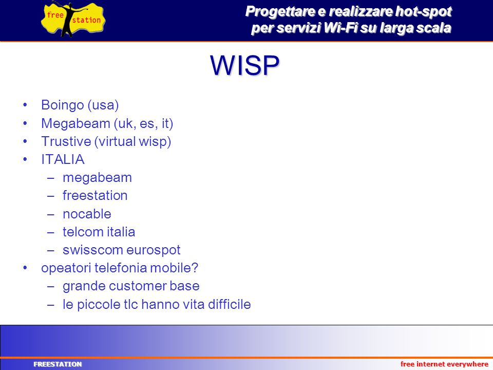 WISP Boingo (usa) Megabeam (uk, es, it) Trustive (virtual wisp) ITALIA