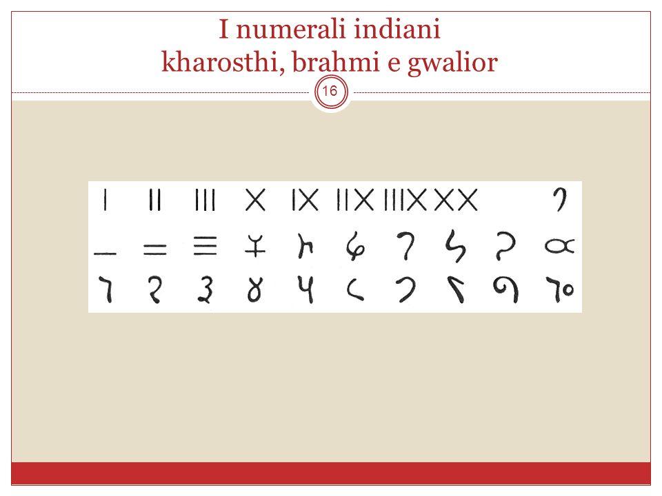 I numerali indiani kharosthi, brahmi e gwalior
