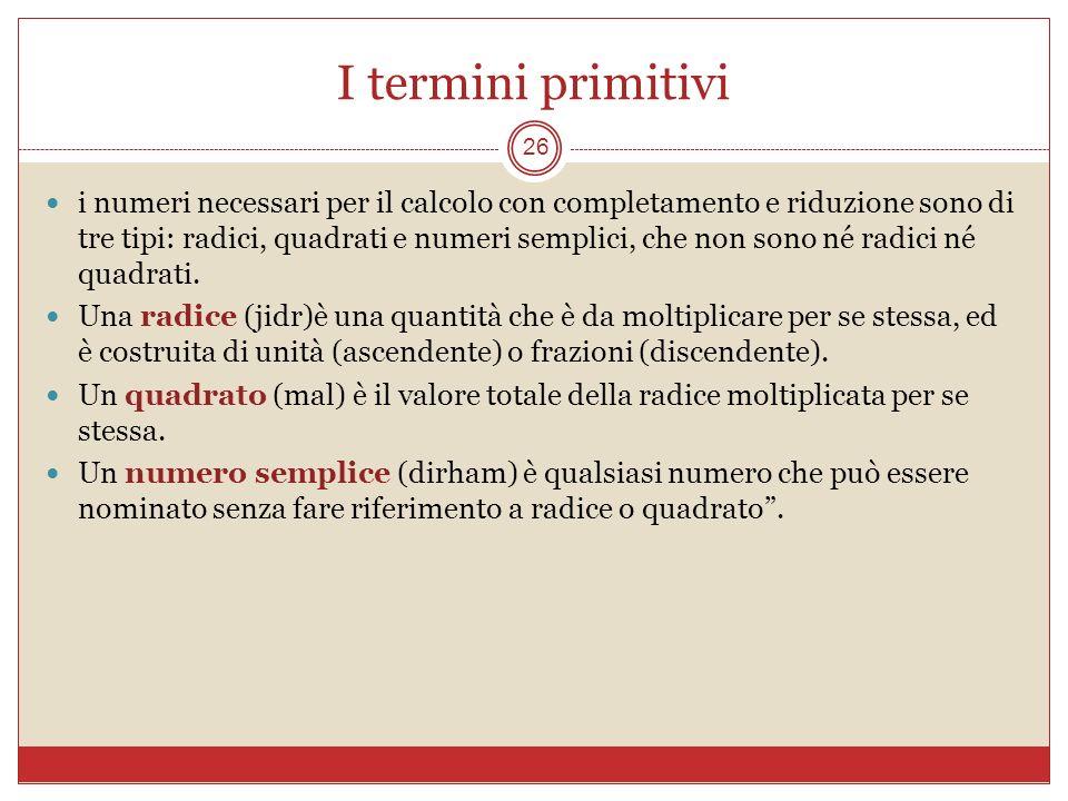 I termini primitivi