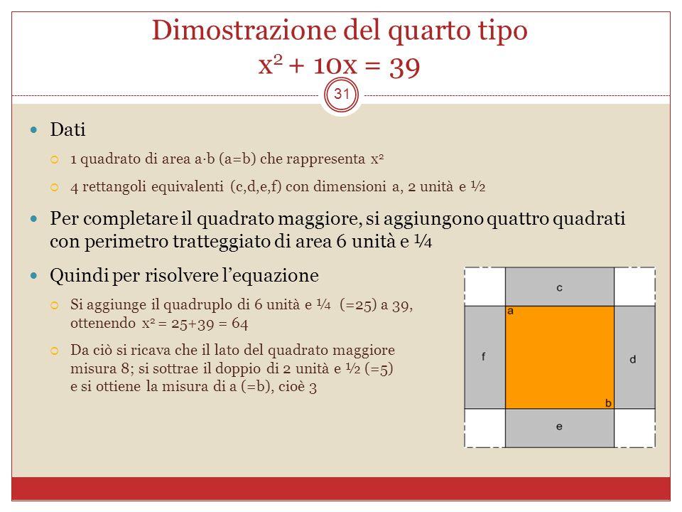 Dimostrazione del quarto tipo x2 + 10x = 39