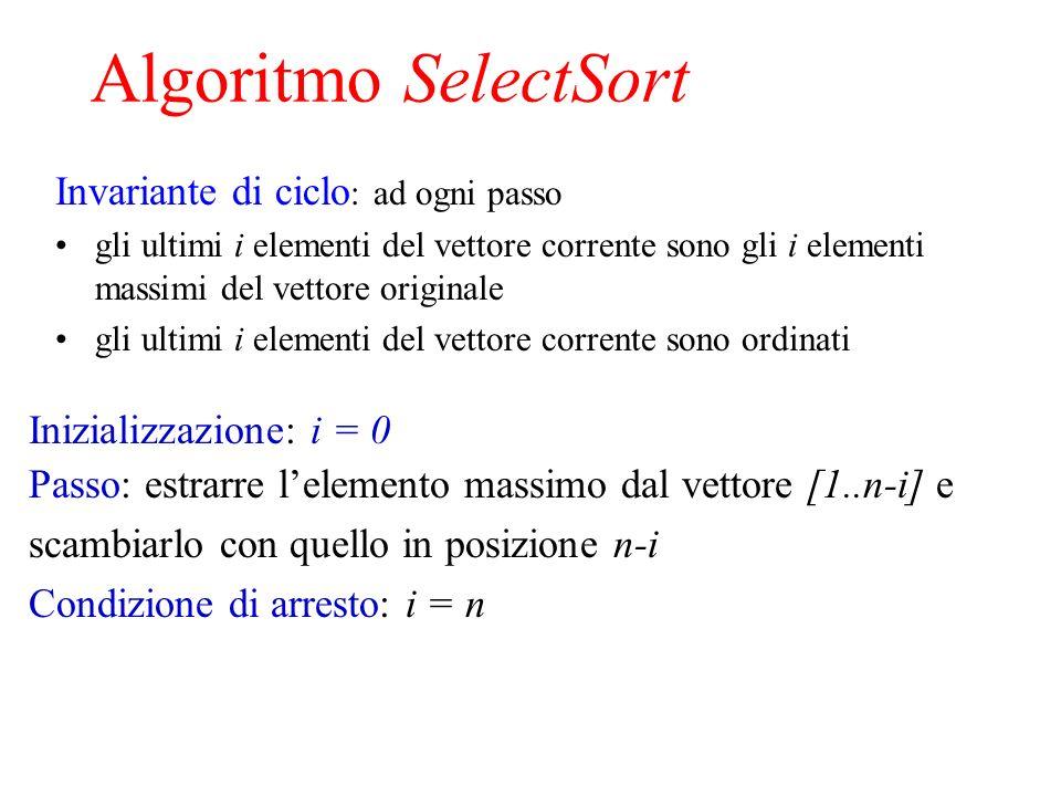 Algoritmo SelectSort Invariante di ciclo: ad ogni passo