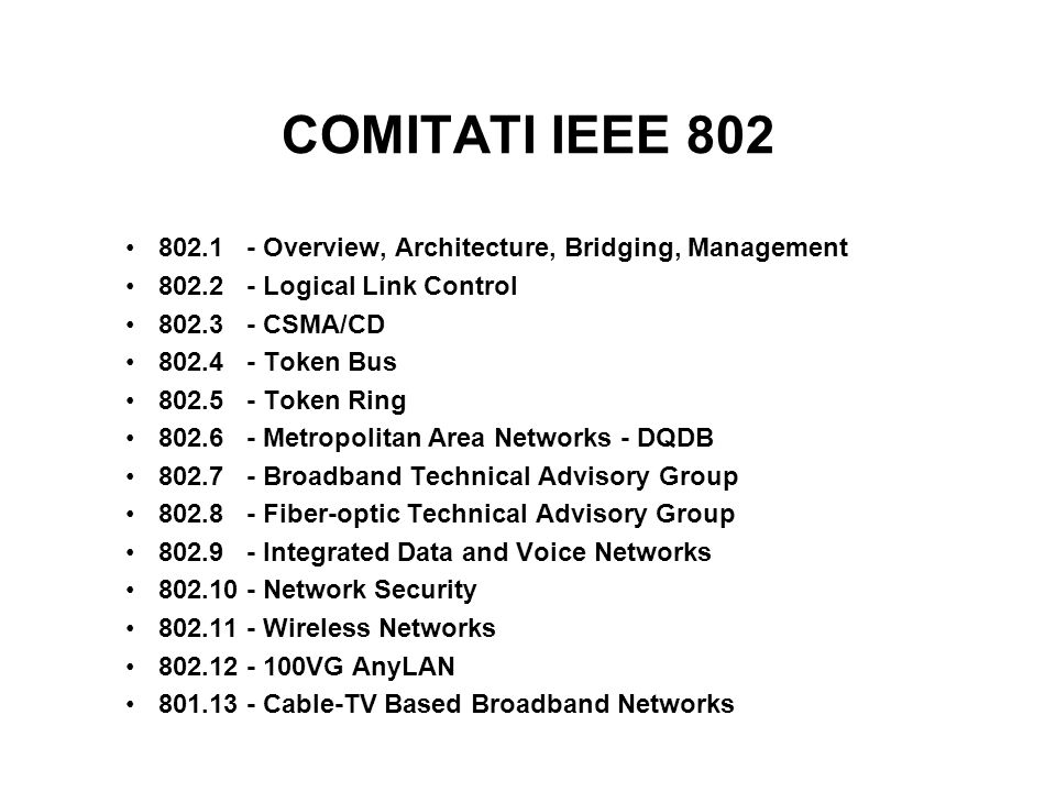 COMITATI IEEE 802 802.1 - Overview, Architecture, Bridging, Management