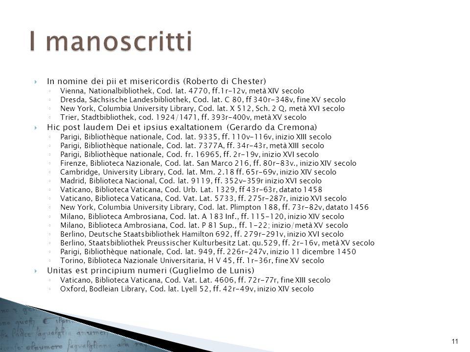 I manoscritti In nomine dei pii et misericordis (Roberto di Chester)
