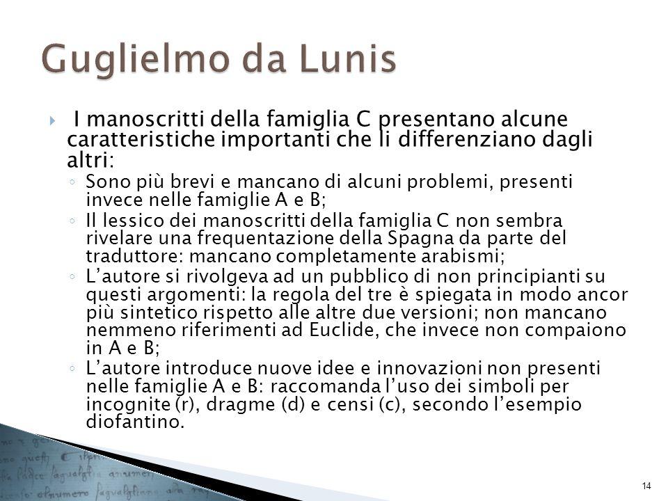 Guglielmo da Lunis I manoscritti della famiglia C presentano alcune caratteristiche importanti che li differenziano dagli altri: