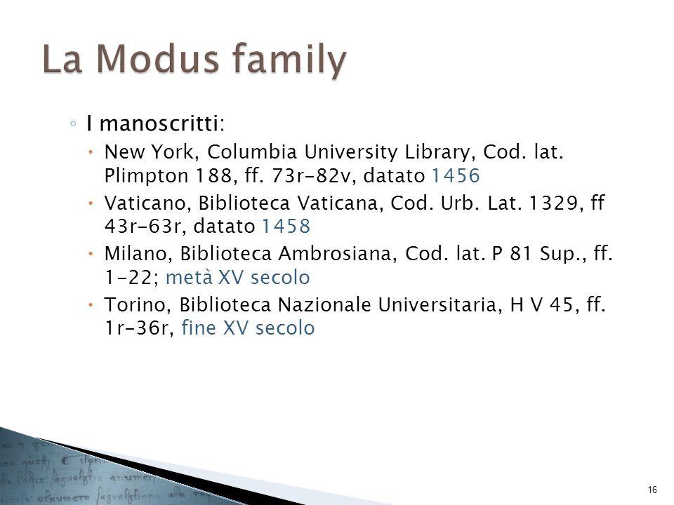 La Modus family I manoscritti: