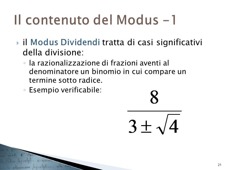 Il contenuto del Modus -1