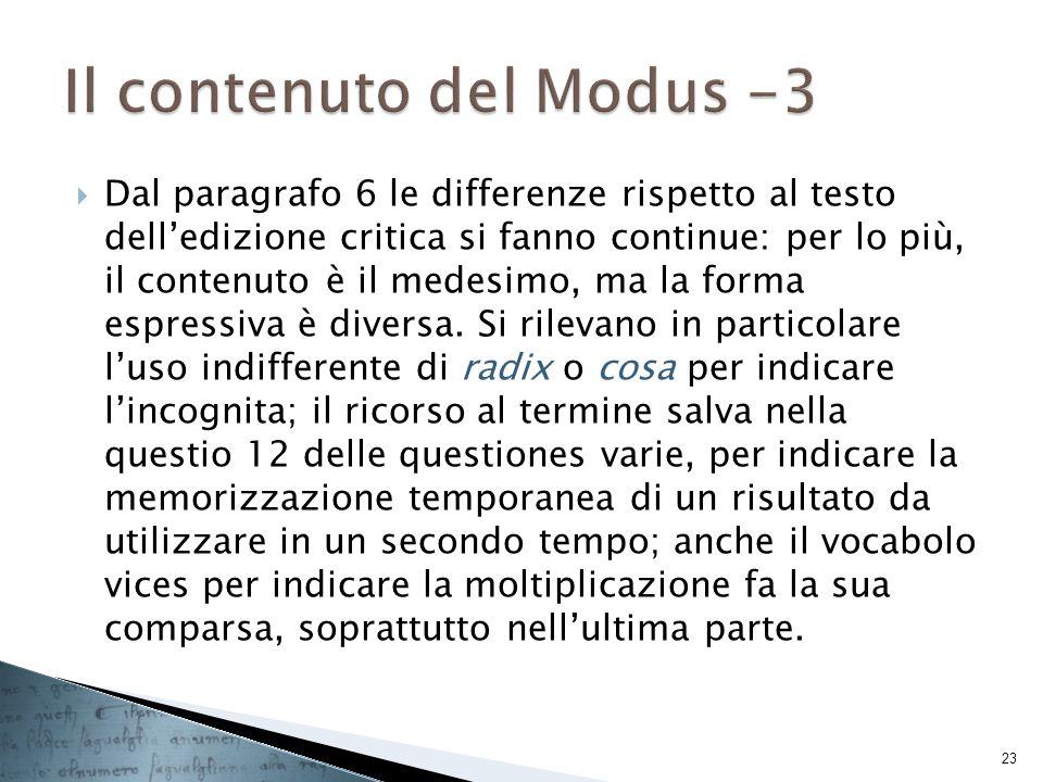 Il contenuto del Modus -3