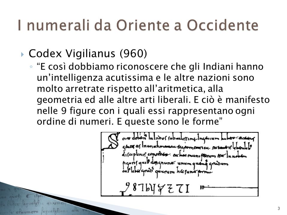 I numerali da Oriente a Occidente