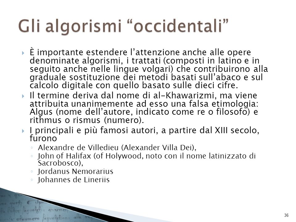 Gli algorismi occidentali