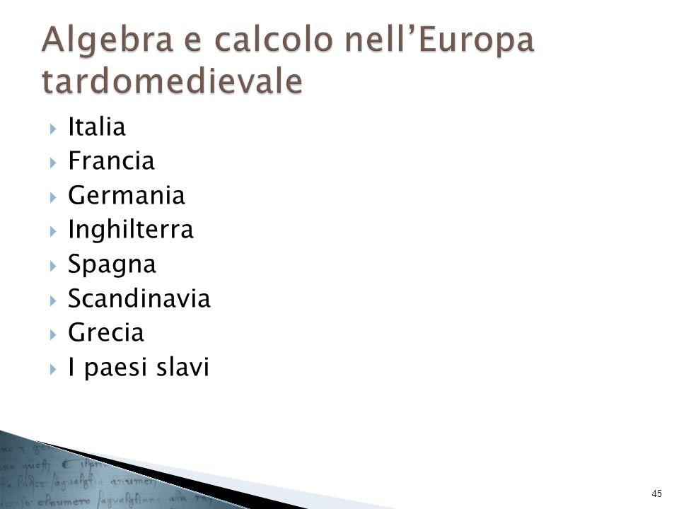 Algebra e calcolo nell'Europa tardomedievale