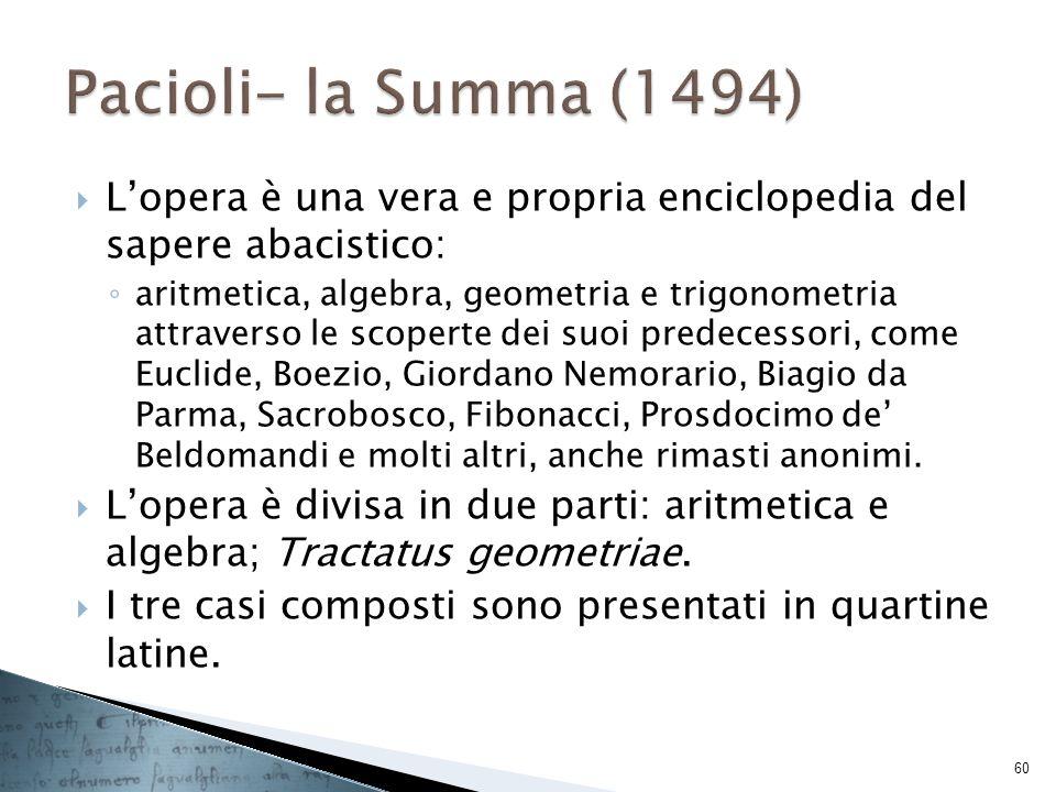 Pacioli- la Summa (1494) L'opera è una vera e propria enciclopedia del sapere abacistico: