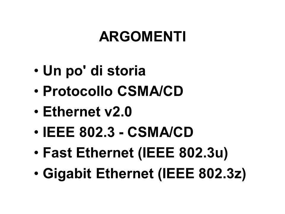ARGOMENTI Un po di storia. Protocollo CSMA/CD. Ethernet v2.0. IEEE 802.3 - CSMA/CD. Fast Ethernet (IEEE 802.3u)