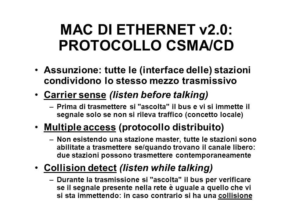 MAC DI ETHERNET v2.0: PROTOCOLLO CSMA/CD