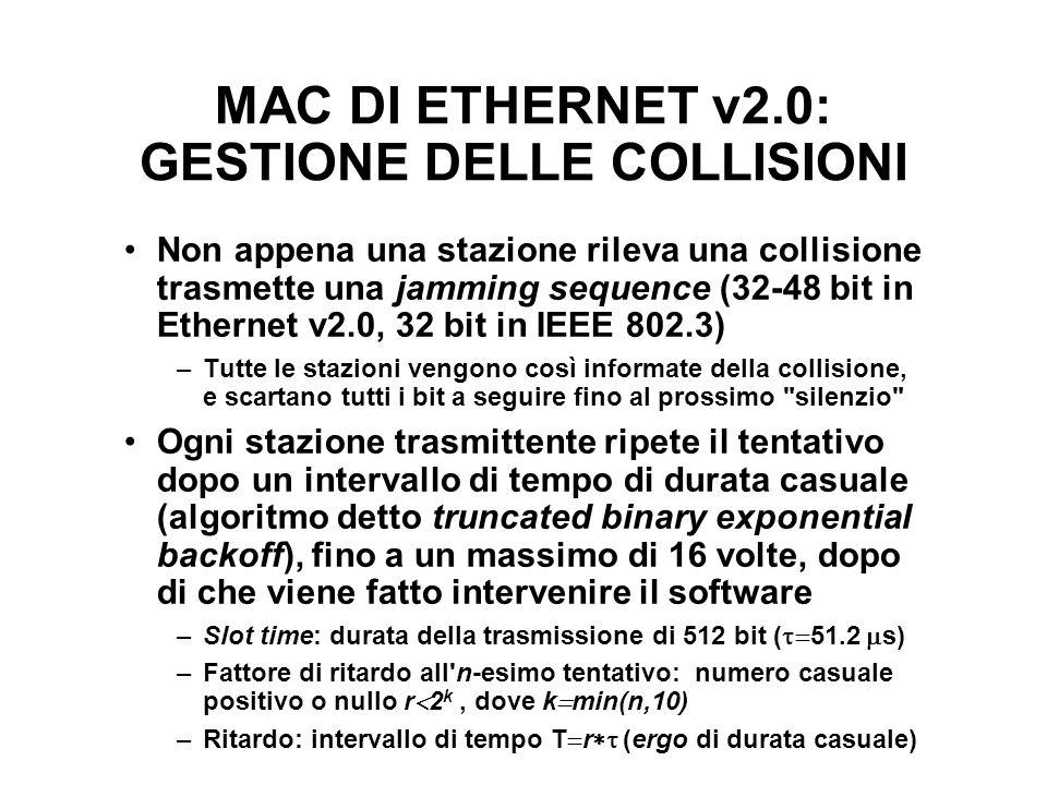 MAC DI ETHERNET v2.0: GESTIONE DELLE COLLISIONI