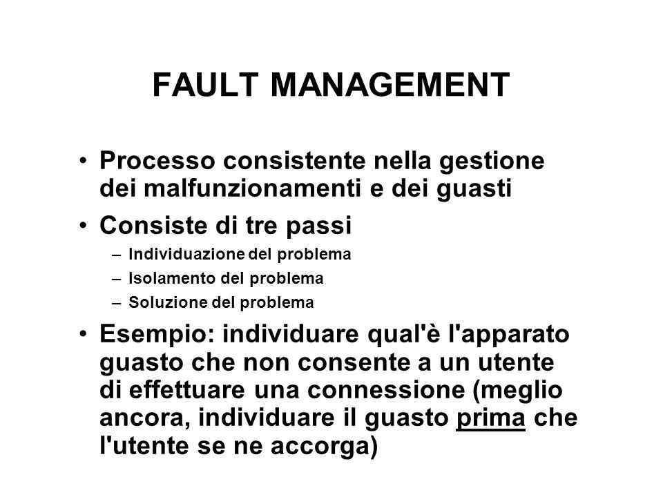 FAULT MANAGEMENT Processo consistente nella gestione dei malfunzionamenti e dei guasti. Consiste di tre passi.