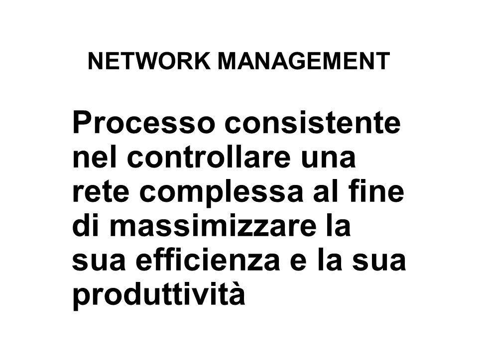 NETWORK MANAGEMENT Processo consistente nel controllare una rete complessa al fine di massimizzare la sua efficienza e la sua produttività.